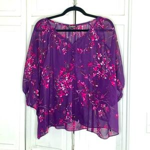 Express Sheer Purple Floral Flowy Blouse